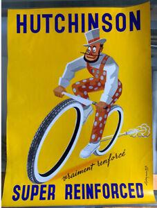 HUTCHINSON ancienne affiche publicitaire Mich   Vélo papier brillant