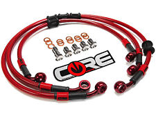 KAWASAKI EX650R 2006-2008 STEEL BRAIDED FRONT & REAR BRAKE LINES TRANS RED