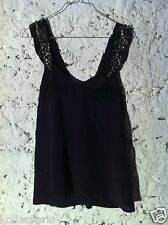 Heimstone Top bretelles soie violet prune noir sequins 36