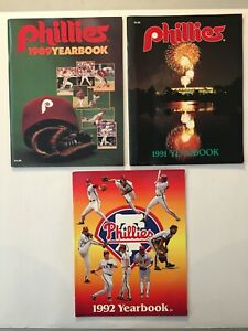 Vintage 1989 1991 1992 Philadelphia Phillies Yearbooks--Lot of 3--Kruk, Dykstra
