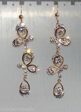 oro 24k Orecchini Fiori di gocce Cristallo da Donna Eleganti pendenti
