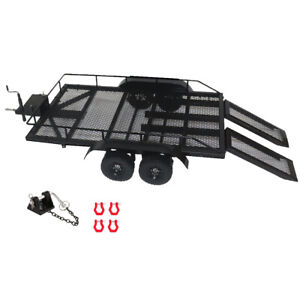 Heavy Duty Metal Trailer with Tow Hook for 1/10 RC Crawler Car Accessories