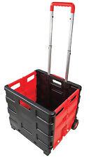 Amtech 25Kg Folding Boot Cart Heavy duty Plastic Box On Wheels Trolley Cart New