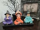 "Candy Corn Halloween Yoga Namaste Trio Witches Resin Tabletop Decor 12.75"""