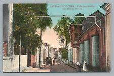 Santiago de Cuba—Calle San Basilio—Rare Antique Cuban PC Tarjeta Postal 1910s