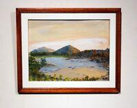 vintage original gouache watercolor mountain lake landscape signed framed matted