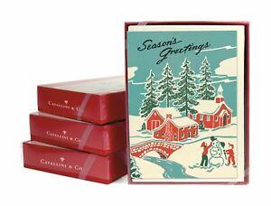 Cavallini - 10 x Glitter Greetings Christmas Cards/Notes - Winter Wonderland