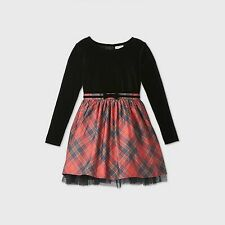 Girls Plaid Velvet Long Sleeve Dress Cat & Jack Black XS 4/5