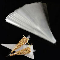 100PCS Cellophane Candy Popcorn Cones Cello Bags Party Favour Candy Treat PackJY