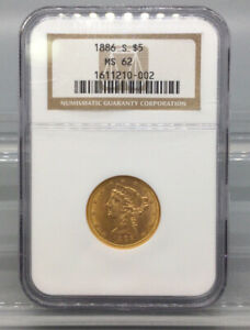 1886 S Half Eagle $5 Gold Coin NGC MS 62
