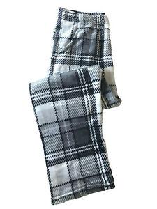 Women Winter Soft Plush Fleece Plaid Lounge Pajama Pants With Pockets Sleepwear