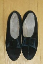 Original Vintage 1940's /50's Ladies Black Swede Leather Court Shoes Size UK 4-5