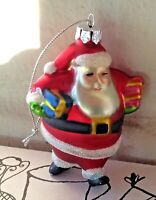 """Vintage Bombay Hand Painted Blown Glass Santa Claus Christmas Ornament 3"""" In Box"""