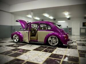 WELLY VW BEETLE 'HOTRIDER' TUNING 1959 LILAC WHITE 1/24 SCALE CAR DIECAST MODEL
