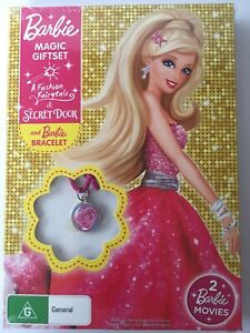 2 DVD BARBIE MAGIC GIFTSET A Fashion Fairytale The Secret Door Pink Bracelet NEW