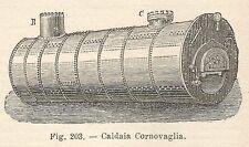 B1643 Caldaia Cornovaglia - Incisione antica del 1924 - Engraving