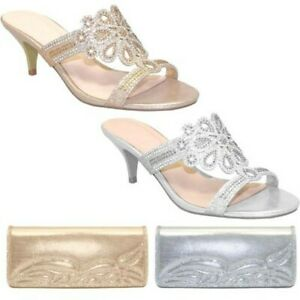 FLR400 Glimmer Slip On Evening Diamante Kitten Heels Mule Bag Purse Clutch