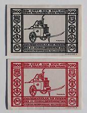 Waldenburg (Schlesien)  2 x 50 Pfg. Feuerwehr 19.9.1920 G/M: 1371.1 + 3  fast ka