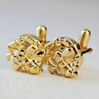 Gold Cuff Links Mens nugget cufflinks man round yellow quality fine US made NWT
