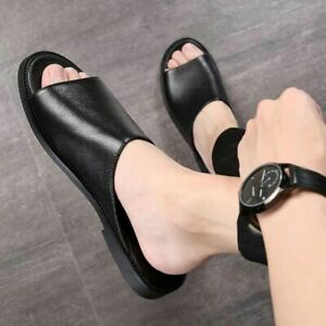 Men Slippers Outside Real Leather Spandex Male Shoes Soft Summer Shoes Slides