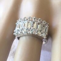 Antique Art Deco Jewellery Sterling Silver Ring White Sapphires Vintage Jewelry