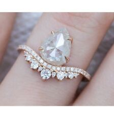 Rose Gold Finish 1.39 Ct Off White Pear Rose Cut Engagement Wedding Ring
