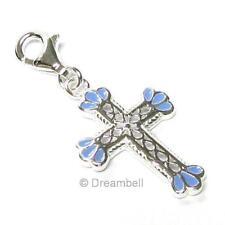 Sterling Silver Holy Cross Enamel Pendant For European Style Clip On Charm