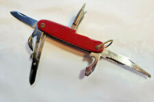 Vintage Folding Pocket Knife Red Handle Swiss Army Style Multi Tool Japan