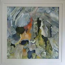 Winter beach comber Katy Wroe oil painting framed wood panel orange red grey