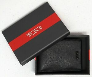 Tumi Brand Wallet Slim Single Billfold Mens Case Black Leather Textured NEW $125