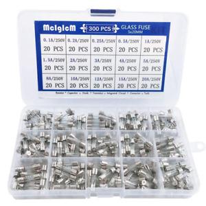 300 Pcs 15 Values 5 x 20mm Fast-Blow Glass Fuse Assortment, 250V 0.1A/ 0.25A/