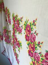 """Betsey Johnson Large Fashion Scarf in Pink Roses with Green Leaves """"BETSEY"""" EUC"""