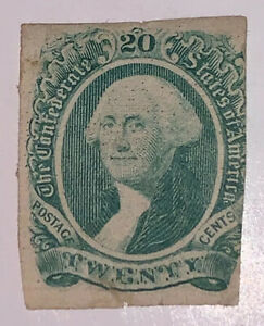 Travelstamps: US CSA Stamp Scott #13 Mint Some OG, Washington, 20 cent