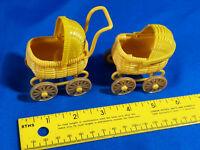 Pair Yellow Hard Plastic Miniature Dollhouse Strollers Pram Carriage VTG