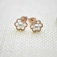 Shiny 14K/14ct Rose Gold Plate Cute Plum Blossom Flower Pearl Stud Earrings Gift