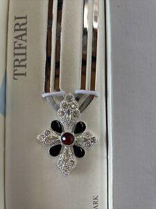 Trifari Religious Silver Celtic Cross Bookmark Simulated Onyx Ruby NEW In Box