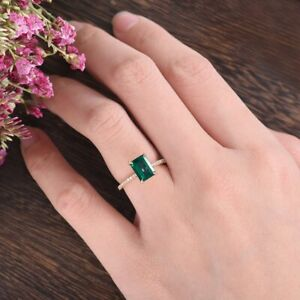 1.50Ct Emerald Cut Green Diamond Solitaire Engagement Ring 14K Rose Gold Finish