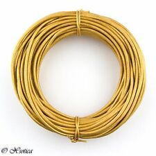 Gold Metallic Round Leather Cord 2mm 25 meters (27 yards)