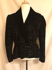Vintage Scott McClintock Black Burn-Out Velvet Tailored Evening Jacket M