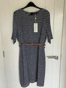 Sugarhill Boutique A Line Striped Belted Dress Size 16