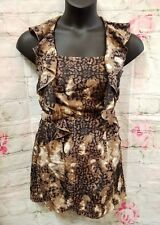PRINGLE OF SCOTLAND brown marble animal Silk Pocket lined  Dress sz 6 -a9