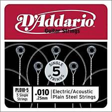 "D'Addario 5x Plain Steel Guitar ""Haute e"" Cordes .010 for Electric & Acoustic"