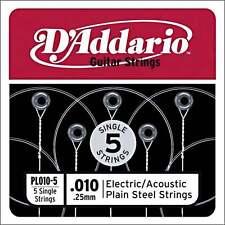 D 'Addario 5x Llano Acero Guitarra' alta e 'Cuerdas .010 para acústica eléctrica &