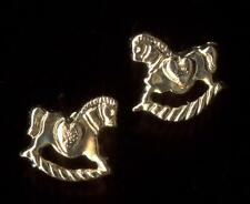 New 14K Solid Yellow Gold Rocking Horse Pony Animal Stud Earrings Lot oY