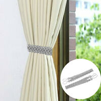 2 x Braided Satin Rope Curtain Tie Backs Holdbacks Holder Curtain Voile Silver