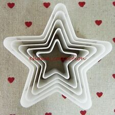 DIY Plastic Decorating 5pcs Cutter Star Plunger Fondant Cake Mould Pudding Tool