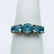 Vintage 10K Solid Yellow Gold Five Stone Blue Topaz Graduated Engagement Ring