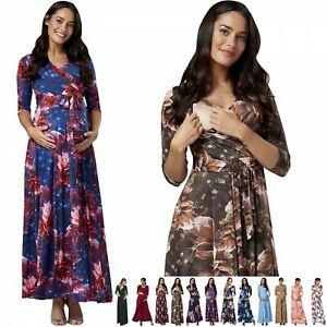 Zeta Ville Women's Maternity Nursing Maxi Dress 3/4 Sleeves Double layered 608
