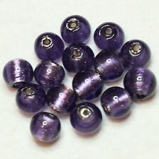 15 INDIAN SILVER FOILED 10mm ROUND BEADS MAUVE (BBB596)