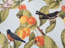 Oilcloth Fabric, PVC Coated, Birds & Cherries  Design, Offcut